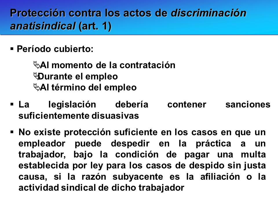Protección contra los actos de discriminación anatisindical (art. 1) Período cubierto: Al momento de la contratación Durante el empleo Al término del