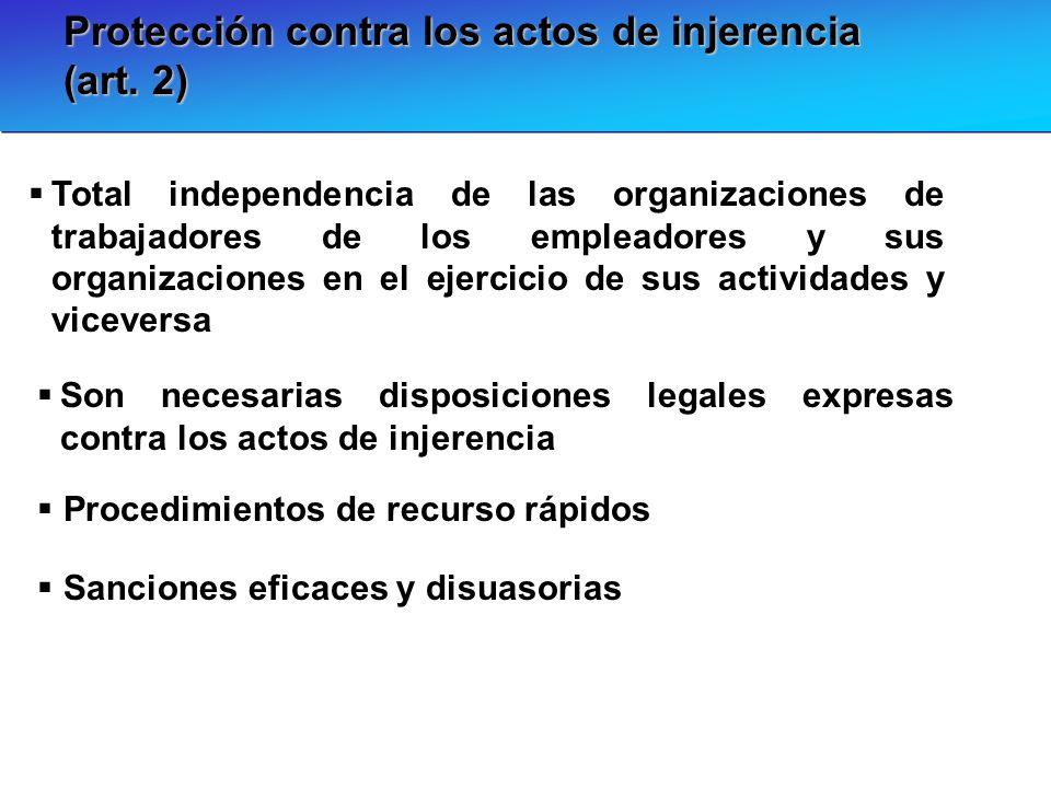 Protección contra los actos de injerencia (art. 2) Total independencia de las organizaciones de trabajadores de los empleadores y sus organizaciones e