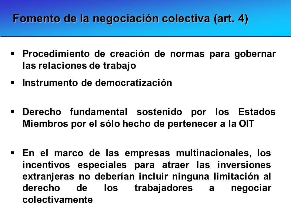 Fomento de la negociación colectiva (art. 4) Derecho fundamental sostenido por los Estados Miembros por el sólo hecho de pertenecer a la OIT Procedimi