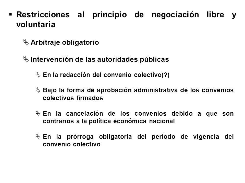 Restricciones al principio de negociación libre y voluntaria En la redacción del convenio colectivo(?) Bajo la forma de aprobación administrativa de l