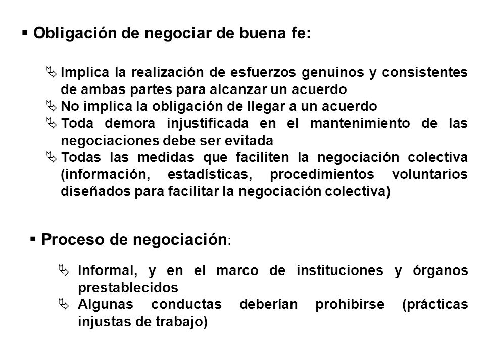 Implica la realización de esfuerzos genuinos y consistentes de ambas partes para alcanzar un acuerdo No implica la obligación de llegar a un acuerdo T