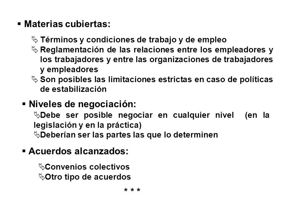 Términos y condiciones de trabajo y de empleo Reglamentación de las relaciones entre los empleadores y los trabajadores y entre las organizaciones de