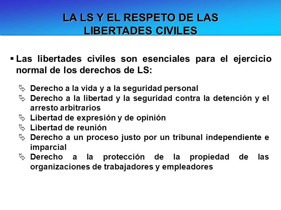 LA LS Y EL RESPETO DE LAS LIBERTADES CIVILES Las libertades civiles son esenciales para el ejercicio normal de los derechos de LS: Derecho a la vida y