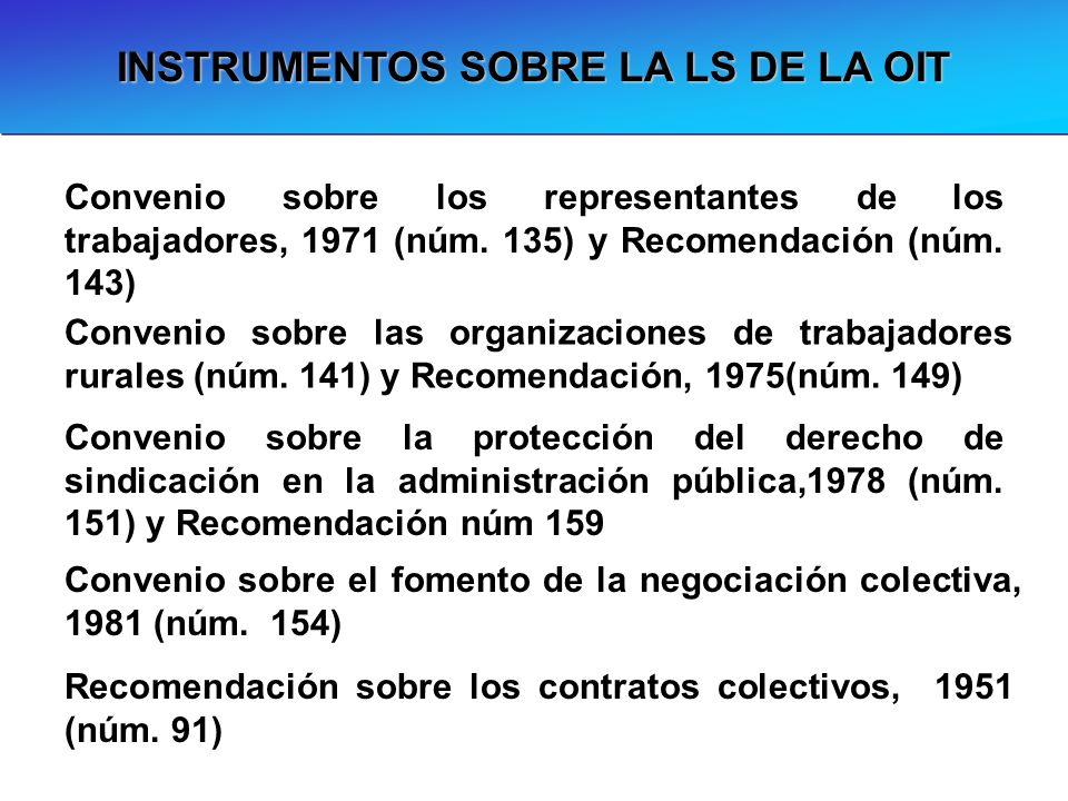 INSTRUMENTOS SOBRE LA LS DE LA OIT Convenio sobre la protección del derecho de sindicación en la administración pública,1978 (núm. 151) y Recomendació