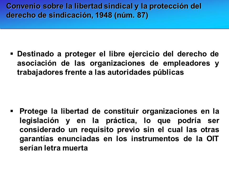 Convenio sobre la libertad sindical y la protección del derecho de sindicación, 1948 (núm. 87) Destinado a proteger el libre ejercicio del derecho de
