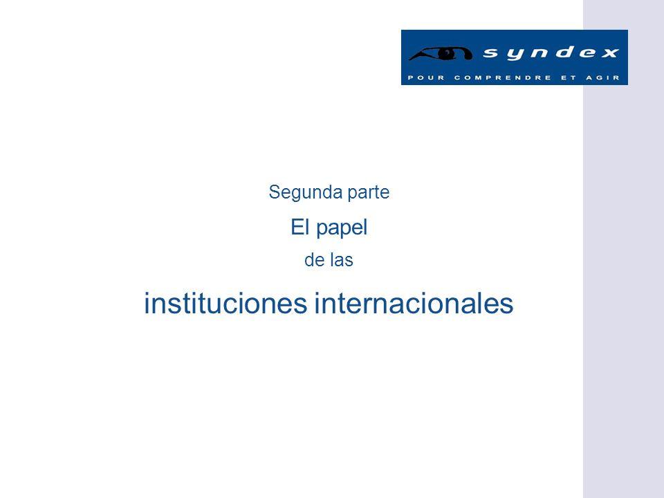 Segunda parte El papel de las instituciones internacionales