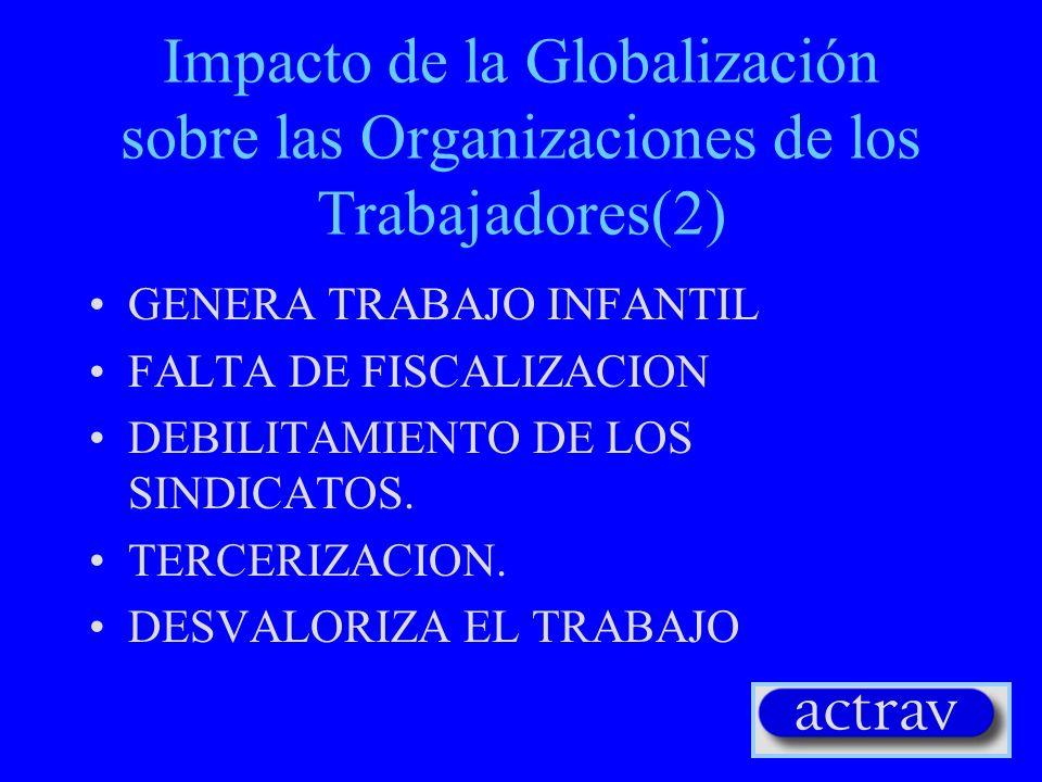 Impacto de la Globalización sobre las Organizaciones de los Trabajadores(2) GENERA TRABAJO INFANTIL FALTA DE FISCALIZACION DEBILITAMIENTO DE LOS SINDICATOS.