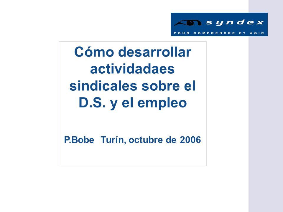 Cómo desarrollar actividadaes sindicales sobre el D.S. y el empleo P.Bobe Turín, octubre de 2006