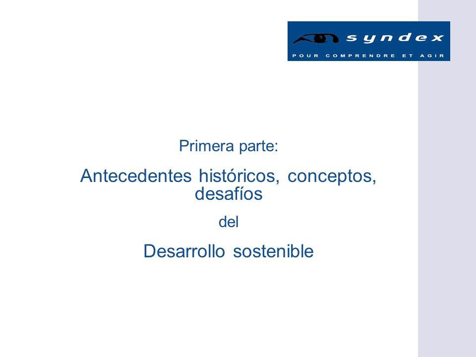 Primera parte: Antecedentes históricos, conceptos, desafíos del Desarrollo sostenible