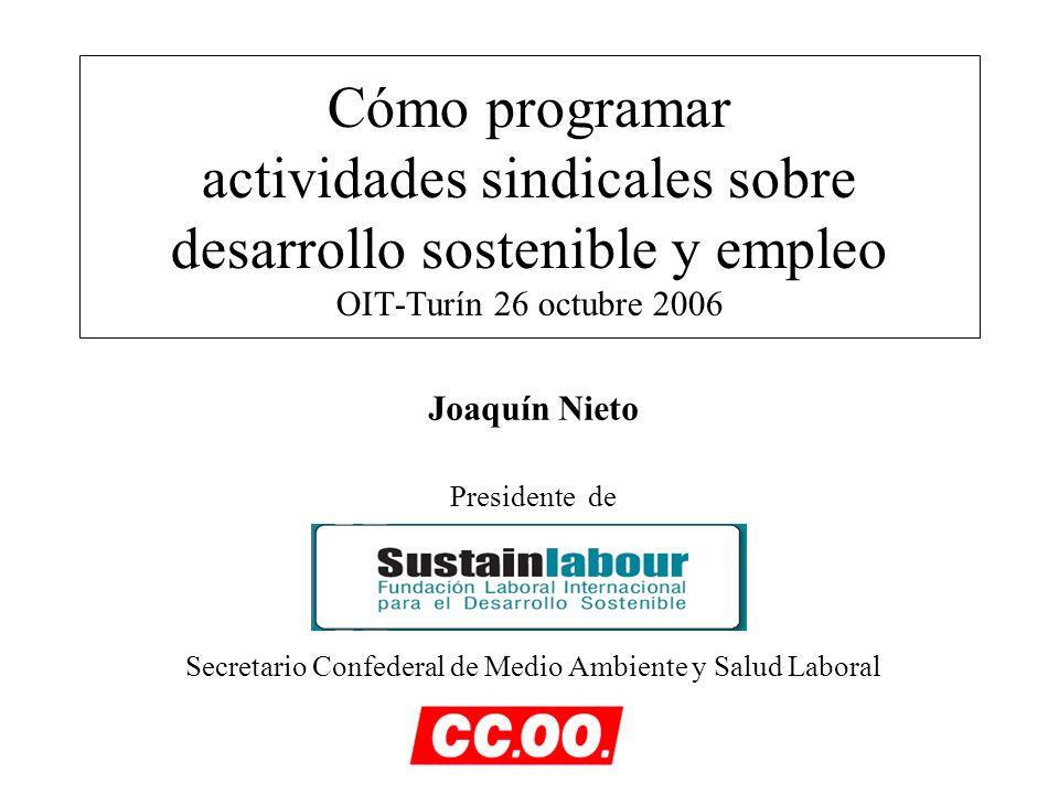 Cómo programar actividades sindicales sobre desarrollo sostenible y empleo OIT-Turín 26 octubre 2006 Joaquín Nieto Presidente de Secretario Confederal de Medio Ambiente y Salud Laboral