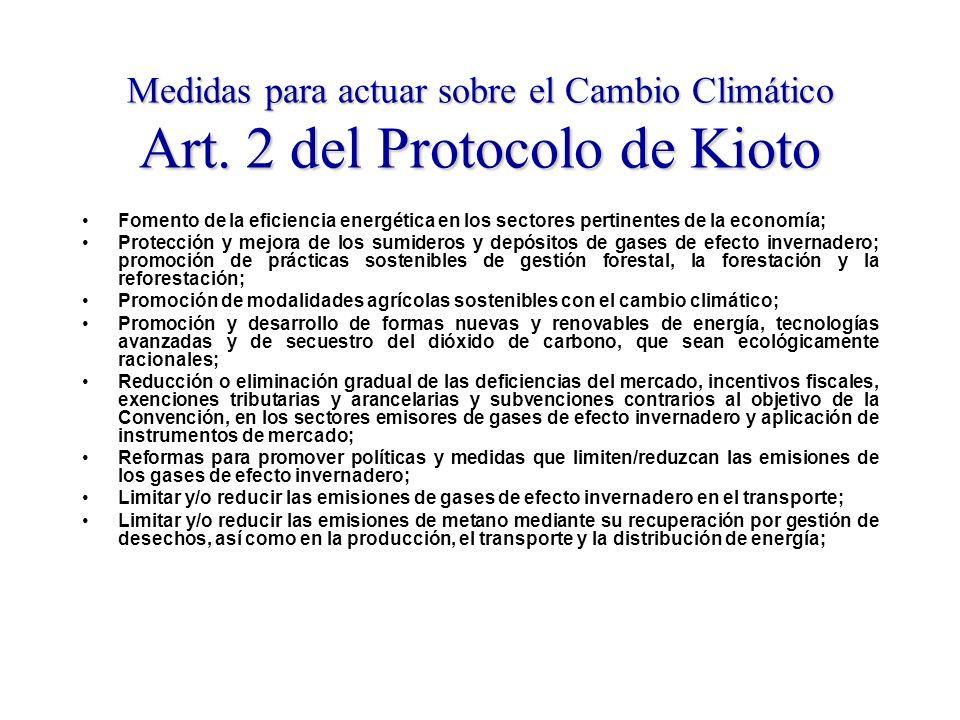Medidas para actuar sobre el Cambio Climático Art.