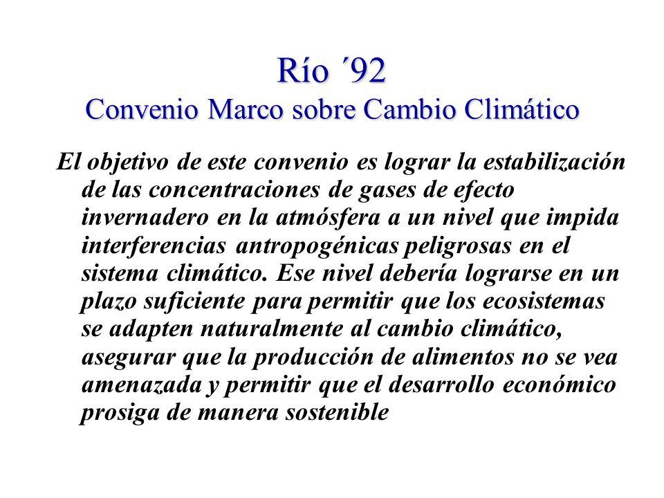 Río ´92 Convenio Marco sobre Cambio Climático El objetivo de este convenio es lograr la estabilización de las concentraciones de gases de efecto invernadero en la atmósfera a un nivel que impida interferencias antropogénicas peligrosas en el sistema climático.