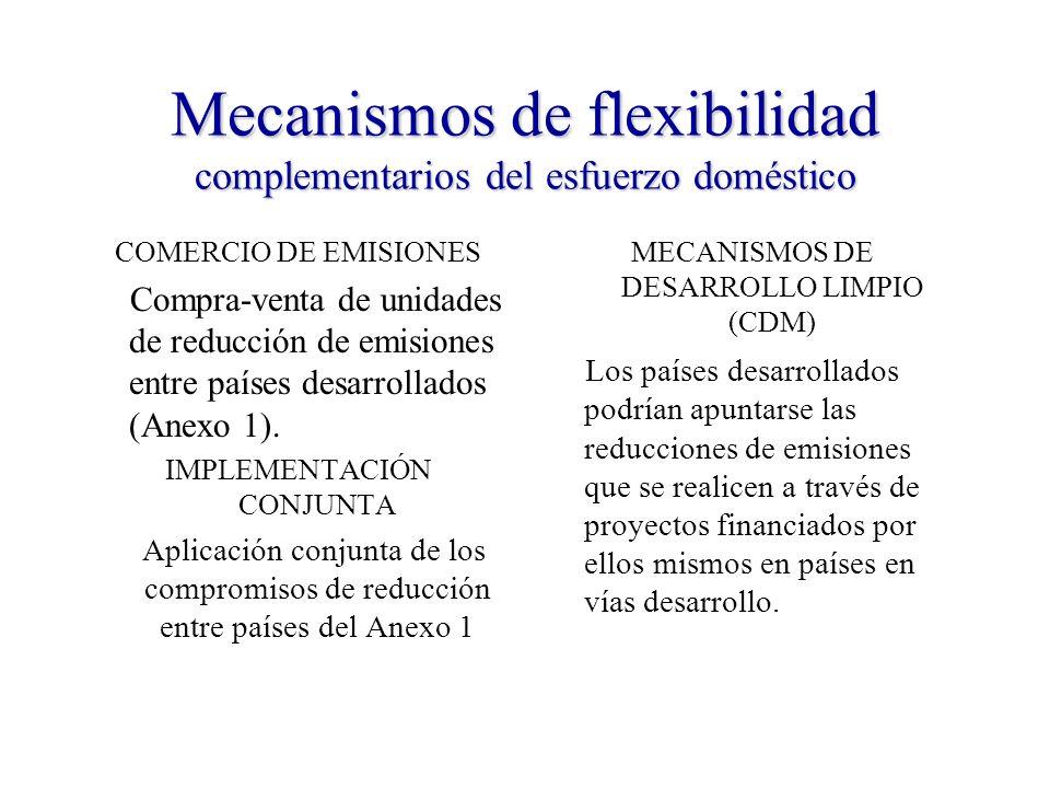 Mecanismos de flexibilidad complementarios del esfuerzo doméstico COMERCIO DE EMISIONES Compra-venta de unidades de reducción de emisiones entre países desarrollados (Anexo 1).