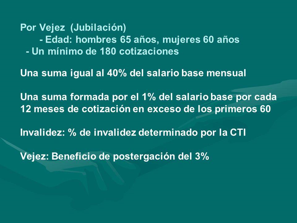 REQUISITOS Por Accidente de trabajo o enfermedad profesional: - Un grado superior al 15% de invalidez - Una sola cotización Por enfermedad común: - Invalidez en un grado superior al 65% - 36 cotizaciones anteriores a la fecha de evaluación.