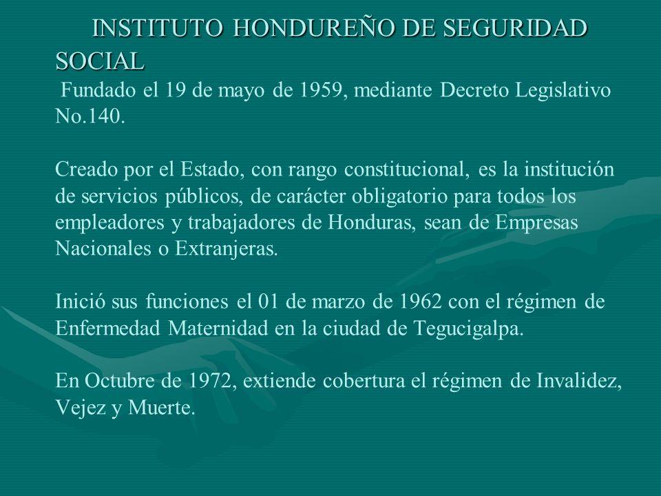 INSTITUTO HONDUREÑO DE SEGURIDAD SOCIAL INSTITUTO HONDUREÑO DE SEGURIDAD SOCIAL Fundado el 19 de mayo de 1959, mediante Decreto Legislativo No.140.