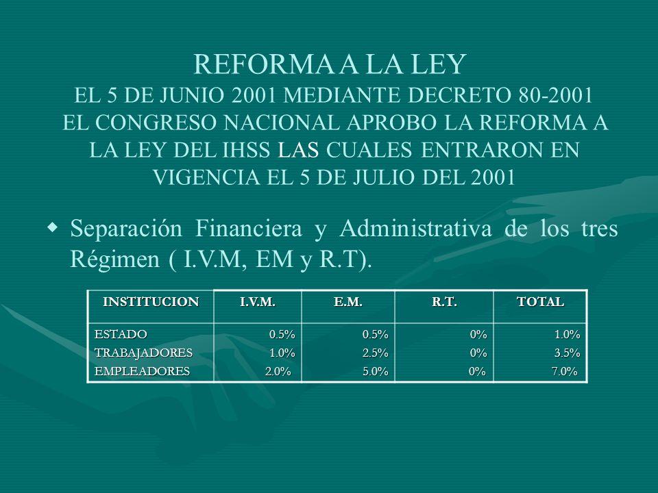 REFORMA A LA LEY EL 5 DE JUNIO 2001 MEDIANTE DECRETO 80-2001 EL CONGRESO NACIONAL APROBO LA REFORMA A LA LEY DEL IHSS LAS CUALES ENTRARON EN VIGENCIA EL 5 DE JULIO DEL 2001 Separación Financiera y Administrativa de los tres Régimen ( I.V.M, EM y R.T).