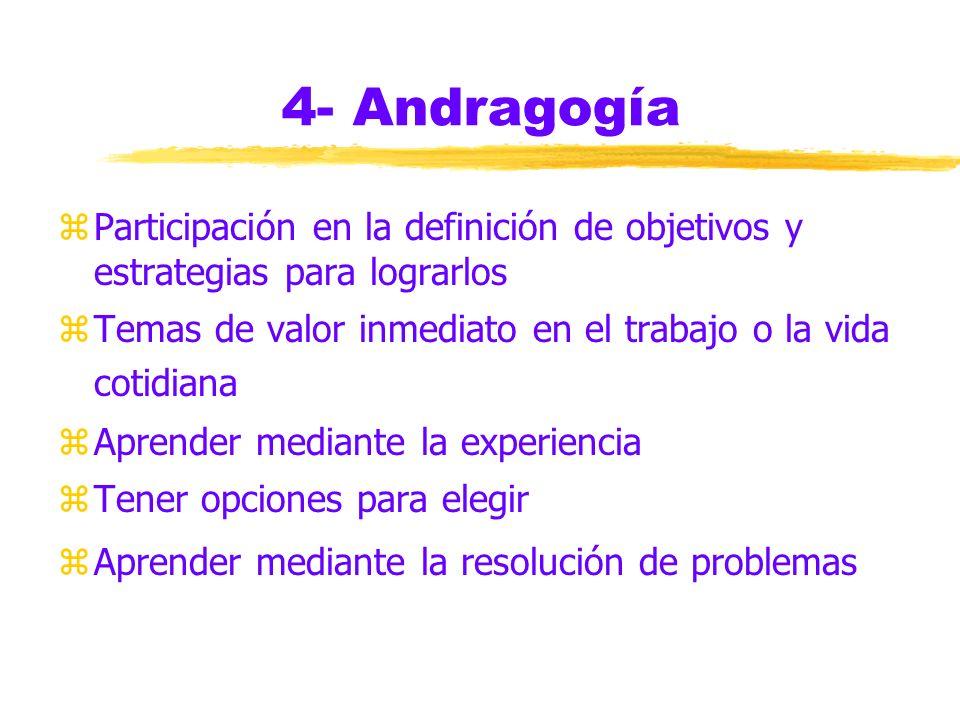 4- Andragogía zpedagogía versus andragogía zmotivaciones del adulto para el aprendizaje (necesidad interna y exigencias externas) zresistencia a ser e