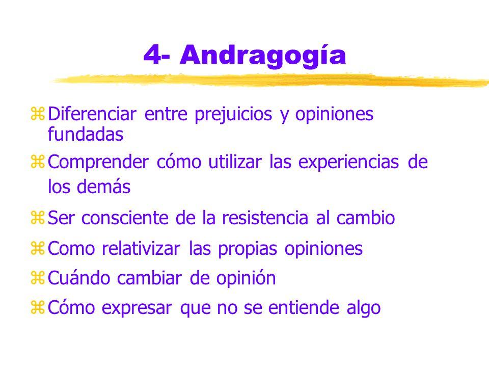 4- Andragogía zParticipación en la definición de objetivos y estrategias para lograrlos zTemas de valor inmediato en el trabajo o la vida cotidiana zA