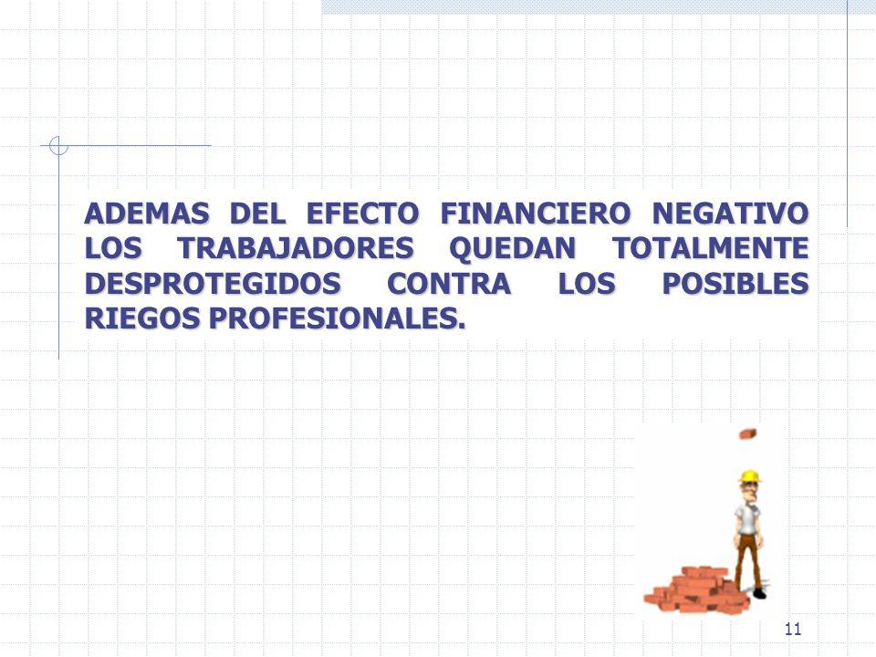 11 ADEMAS DEL EFECTO FINANCIERO NEGATIVO LOS TRABAJADORES QUEDAN TOTALMENTE DESPROTEGIDOS CONTRA LOS POSIBLES RIEGOS PROFESIONALES.