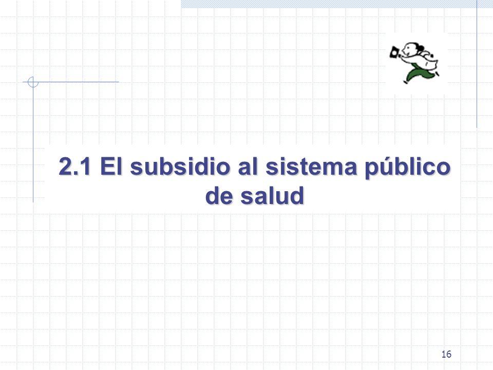 16 2.1 El subsidio al sistema público de salud