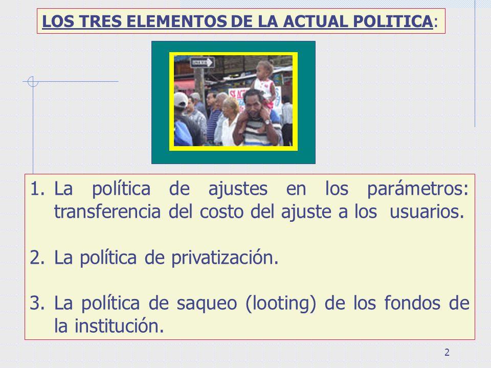 2 LOS TRES ELEMENTOS DE LA ACTUAL POLITICA: 1.La política de ajustes en los parámetros: transferencia del costo del ajuste a los usuarios. 2.La políti