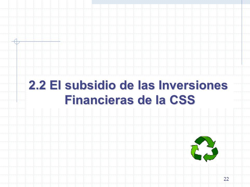 22 2.2 El subsidio de las Inversiones Financieras de la CSS
