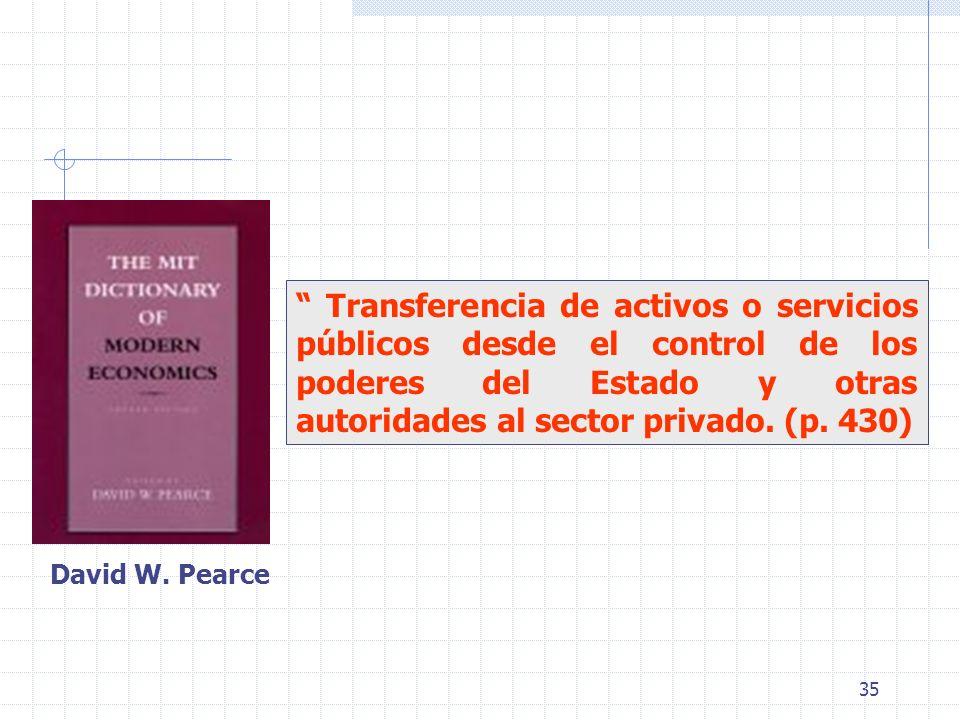 35 Transferencia de activos o servicios públicos desde el control de los poderes del Estado y otras autoridades al sector privado. (p. 430) David W. P