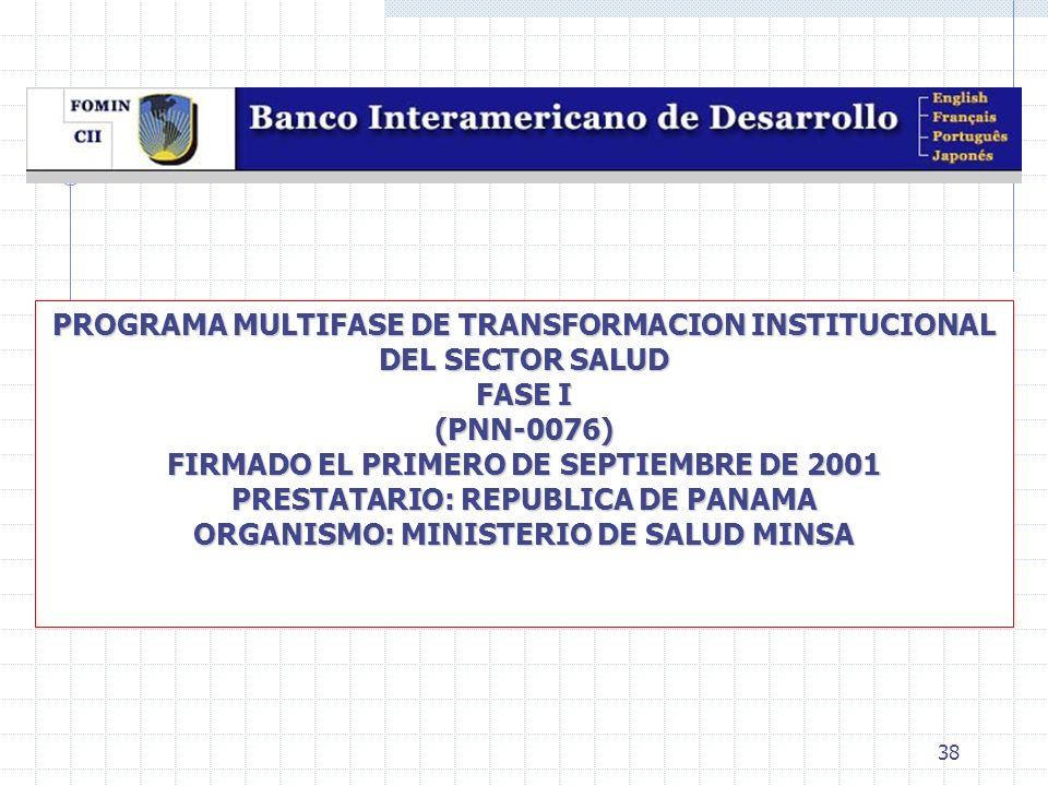 38 PROGRAMA MULTIFASE DE TRANSFORMACION INSTITUCIONAL DEL SECTOR SALUD FASE I (PNN-0076) FIRMADO EL PRIMERO DE SEPTIEMBRE DE 2001 PRESTATARIO: REPUBLI