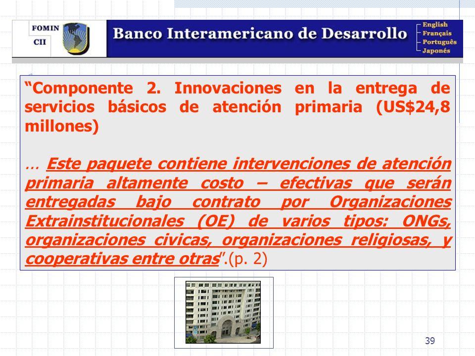 39 Componente 2. Innovaciones en la entrega de servicios básicos de atención primaria (US$24,8 millones)... Este paquete contiene intervenciones de at