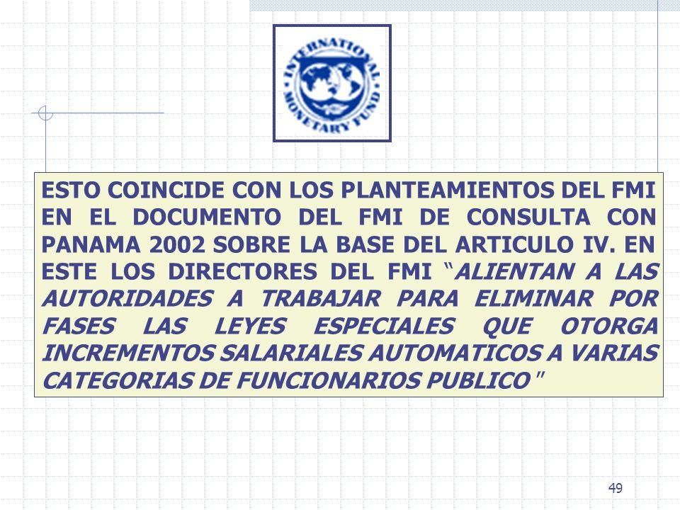 49 ESTO COINCIDE CON LOS PLANTEAMIENTOS DEL FMI EN EL DOCUMENTO DEL FMI DE CONSULTA CON PANAMA 2002 SOBRE LA BASE DEL ARTICULO IV. EN ESTE LOS DIRECTO