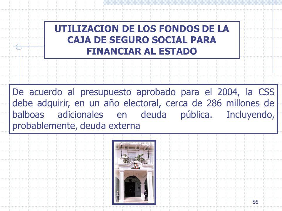 56 UTILIZACION DE LOS FONDOS DE LA CAJA DE SEGURO SOCIAL PARA FINANCIAR AL ESTADO De acuerdo al presupuesto aprobado para el 2004, la CSS debe adquiri