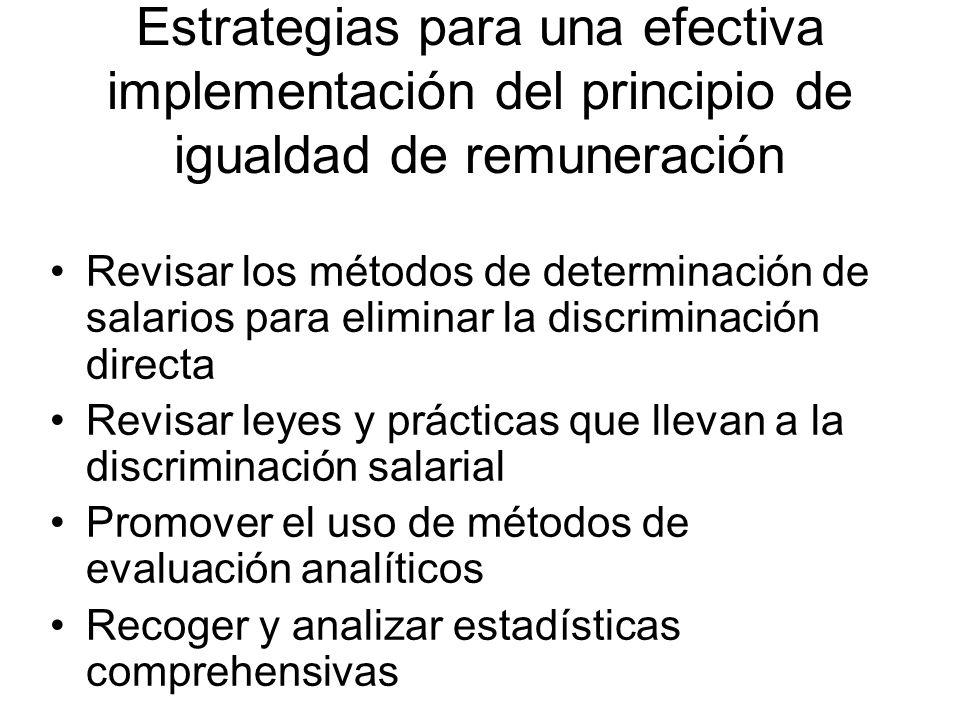 Estrategias para una efectiva implementación del principio de igualdad de remuneración Revisar los métodos de determinación de salarios para eliminar