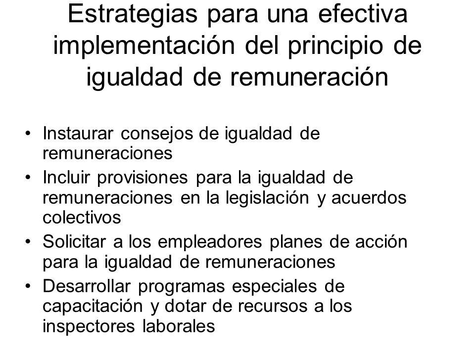 Estrategias para una efectiva implementación del principio de igualdad de remuneración Instaurar consejos de igualdad de remuneraciones Incluir provis