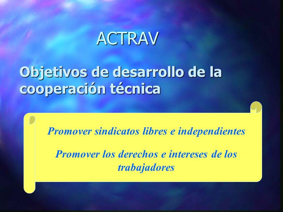 ACTRAV Objetivos de desarrollo de la cooperación técnica Pro Promover sindicatos libres e independientes Promover los derechos e intereses de los trabajadores