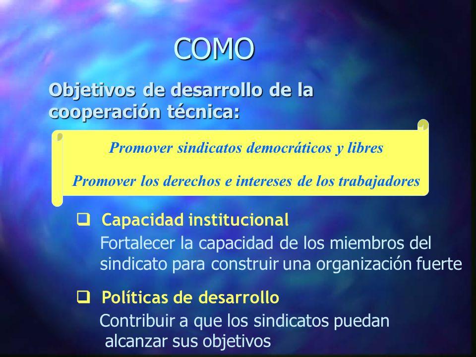 COMO Capacidad institucional Fortalecer la capacidad de los miembros del sindicato para construir una organización fuerte Políticas de desarrollo Contribuir a que los sindicatos puedan alcanzar sus objetivos Objetivos de desarrollo de la cooperación técnica: Promover sindicatos democráticos y libres Promover los derechos e intereses de los trabajadores