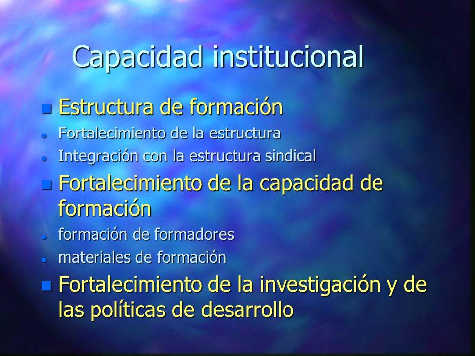 Capacidad institucional n Estructura de formación l Fortalecimiento de la estructura l Integración con la estructura sindical n Fortalecimiento de la capacidad de formación l formación de formadores l materiales de formación n Fortalecimiento de la investigación y de las políticas de desarrollo