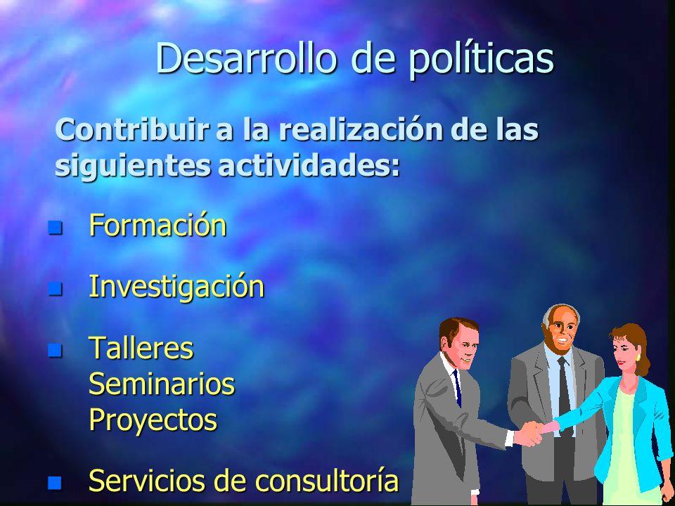 Desarrollo de políticas n Formación n Investigación n Talleres Seminarios Proyectos n Servicios n Servicios de consultoría Contribuir a la realización de las siguientes actividades: