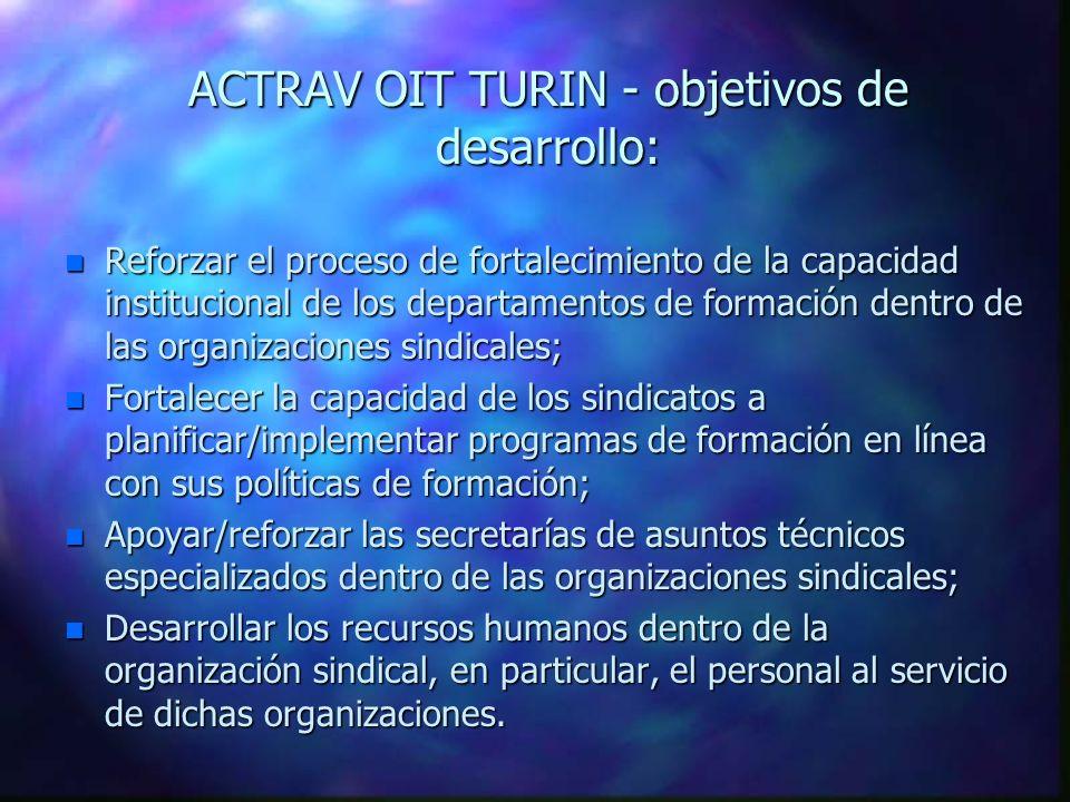 Oficina de Actividades para los Trabajadores (ACTRAV) ACTRAV - OIT TURIN Especialistas en el Terreno