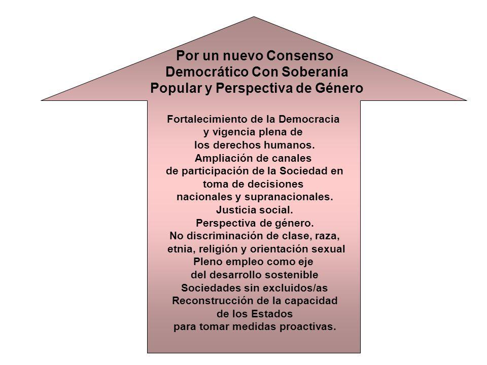 Por un nuevo Consenso Democrático Con Soberanía Popular y Perspectiva de Género Fortalecimiento de la Democracia y vigencia plena de los derechos humanos.
