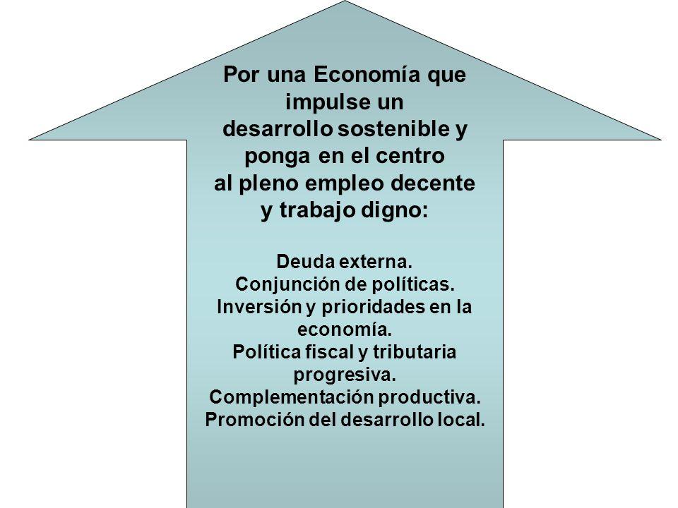 Por una Economía que impulse un desarrollo sostenible y ponga en el centro al pleno empleo decente y trabajo digno: Deuda externa.