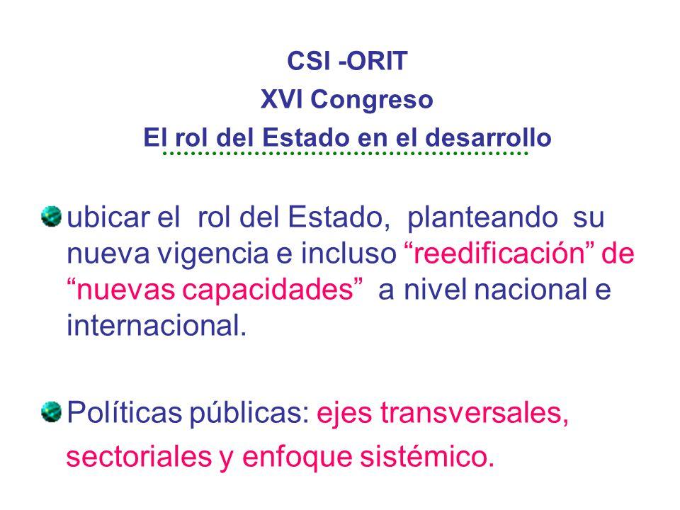 CSI -ORIT XVI Congreso El rol del Estado en el desarrollo ubicar el rol del Estado, planteando su nueva vigencia e incluso reedificación de nuevas capacidades a nivel nacional e internacional.
