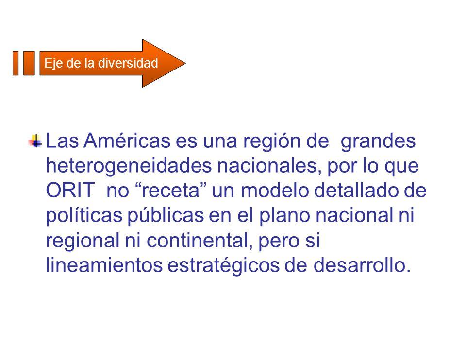 Las Américas es una región de grandes heterogeneidades nacionales, por lo que ORIT no receta un modelo detallado de políticas públicas en el plano nacional ni regional ni continental, pero si lineamientos estratégicos de desarrollo.