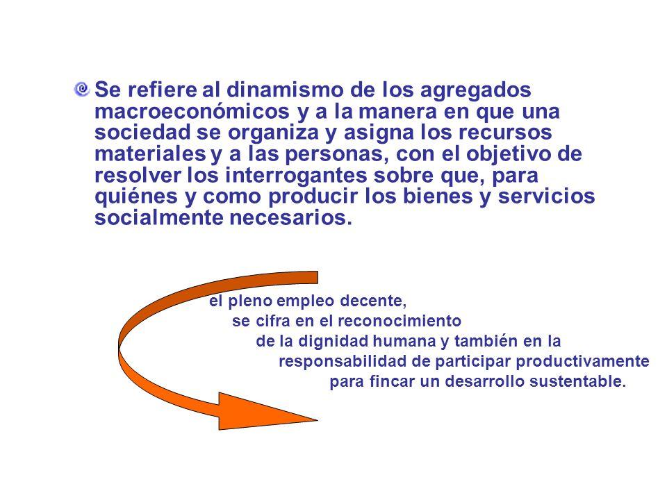 Se refiere al dinamismo de los agregados macroeconómicos y a la manera en que una sociedad se organiza y asigna los recursos materiales y a las personas, con el objetivo de resolver los interrogantes sobre que, para quiénes y como producir los bienes y servicios socialmente necesarios.