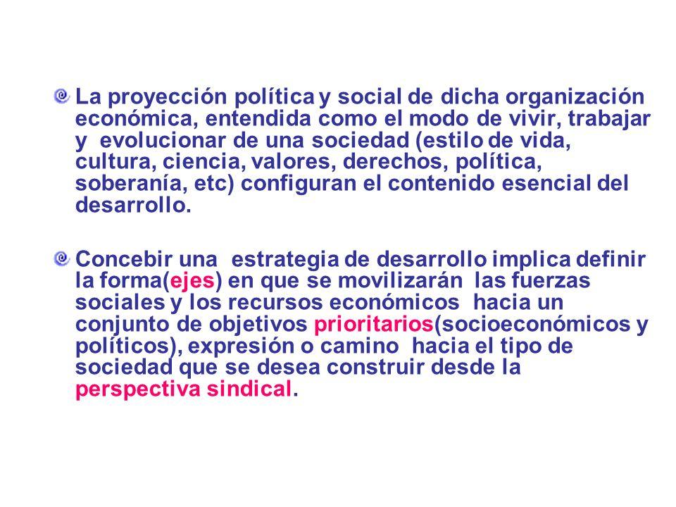 La proyección política y social de dicha organización económica, entendida como el modo de vivir, trabajar y evolucionar de una sociedad (estilo de vida, cultura, ciencia, valores, derechos, política, soberanía, etc) configuran el contenido esencial del desarrollo.