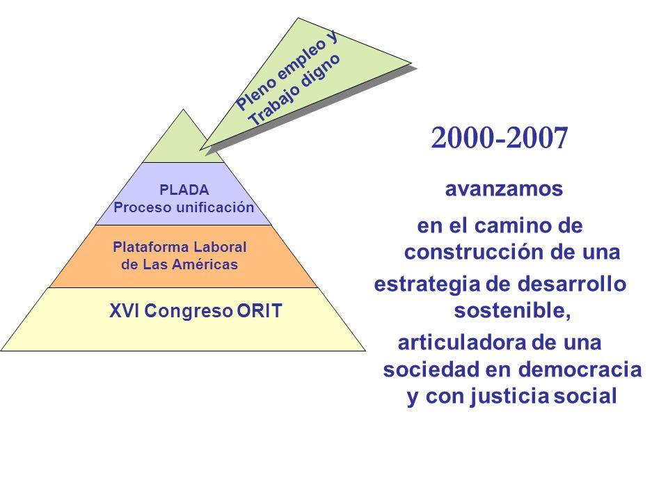 2000-2007 avanzamos en el camino de construcción de una estrategia de desarrollo sostenible, articuladora de una sociedad en democracia y con justicia social XVI Congreso ORIT Plataforma Laboral de Las Américas PLADA Proceso unificación Pleno empleo y Trabajo digno