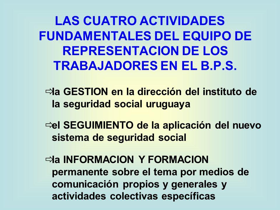 LAS CUATRO ACTIVIDADES FUNDAMENTALES DEL EQUIPO DE REPRESENTACION DE LOS TRABAJADORES EN EL B.P.S.