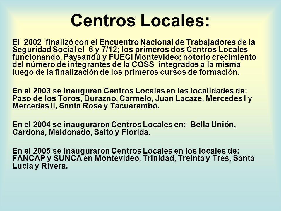 Centros Locales: El 2002 finalizó con el Encuentro Nacional de Trabajadores de la Seguridad Social el 6 y 7/12; los primeros dos Centros Locales funcionando, Paysandú y FUECI Montevideo; notorio crecimiento del número de integrantes de la COSS integrados a la misma luego de la finalización de los primeros cursos de formación.