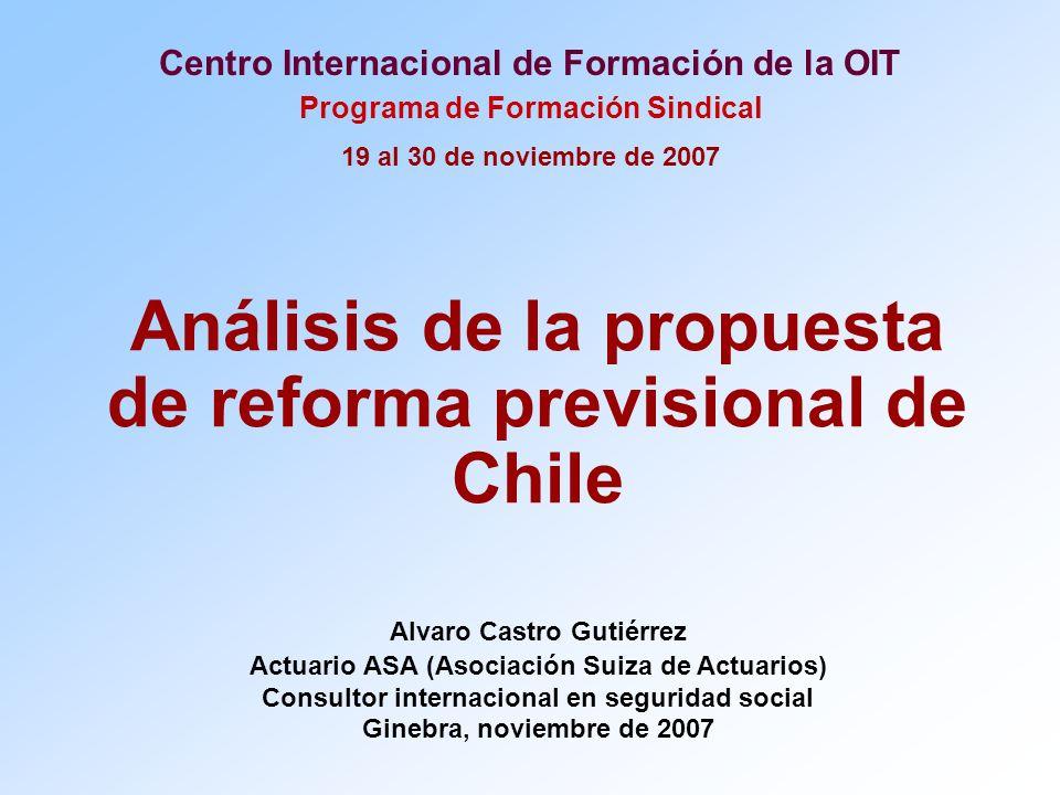 Centro Internacional de Formación de la OIT Programa de Formación Sindical 19 al 30 de noviembre de 2007 Análisis de la propuesta de reforma previsional de Chile Alvaro Castro Gutiérrez Actuario ASA (Asociación Suiza de Actuarios) Consultor internacional en seguridad social Ginebra, noviembre de 2007