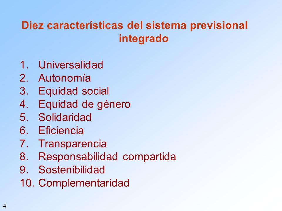 Diez características del sistema previsional integrado 1.Universalidad 2.Autonomía 3.Equidad social 4.Equidad de género 5.Solidaridad 6.Eficiencia 7.Transparencia 8.Responsabilidad compartida 9.Sostenibilidad 10.Complementaridad 4