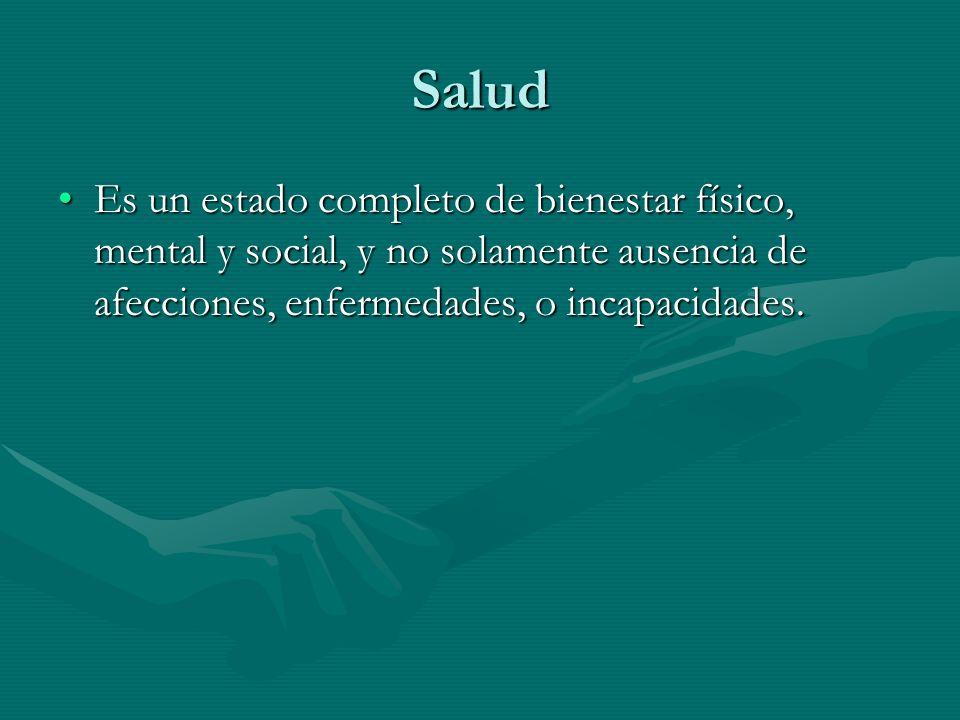 Salud Es un estado completo de bienestar físico, mental y social, y no solamente ausencia de afecciones, enfermedades, o incapacidades.Es un estado completo de bienestar físico, mental y social, y no solamente ausencia de afecciones, enfermedades, o incapacidades.